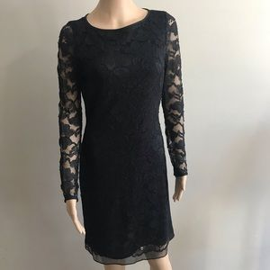 DVF formal dress black long sleeve lace Sz 6
